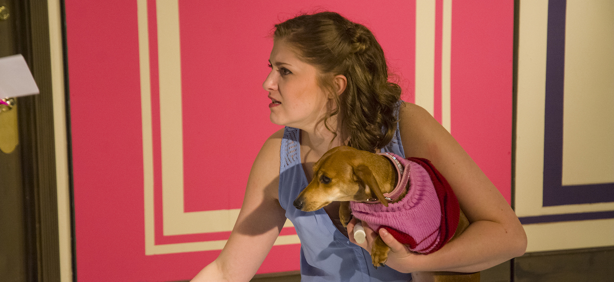 Cabrini student with dog in Legally Blonde
