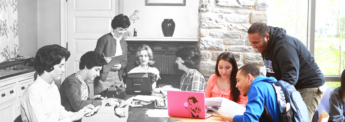 Cabrini students with typewriters and a laptop, then and now