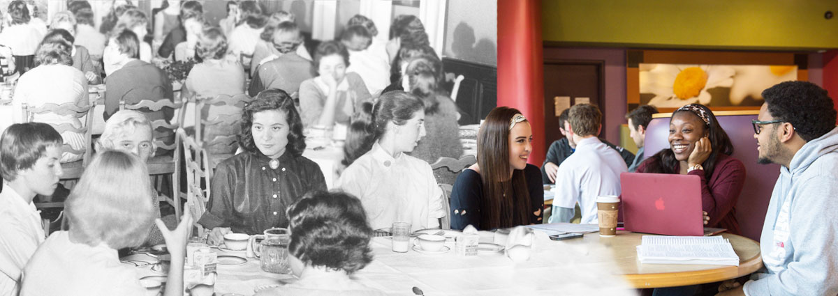Cabrini students dining, then and now