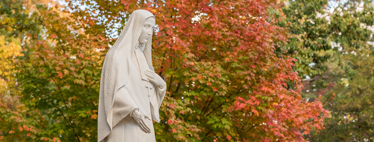 A statue of Jesus at Cabrini University