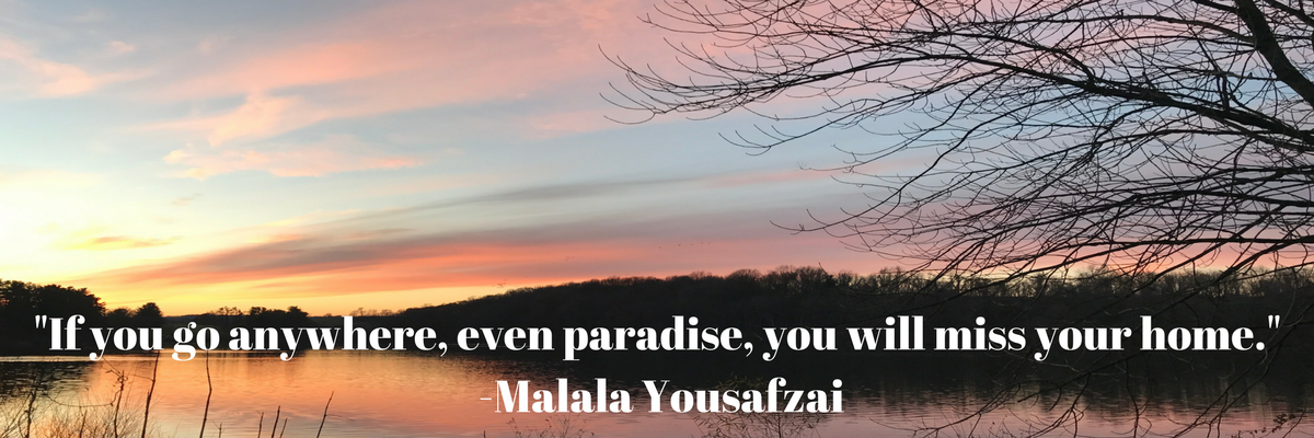 Quote by Malala Yousafzai over sunset.