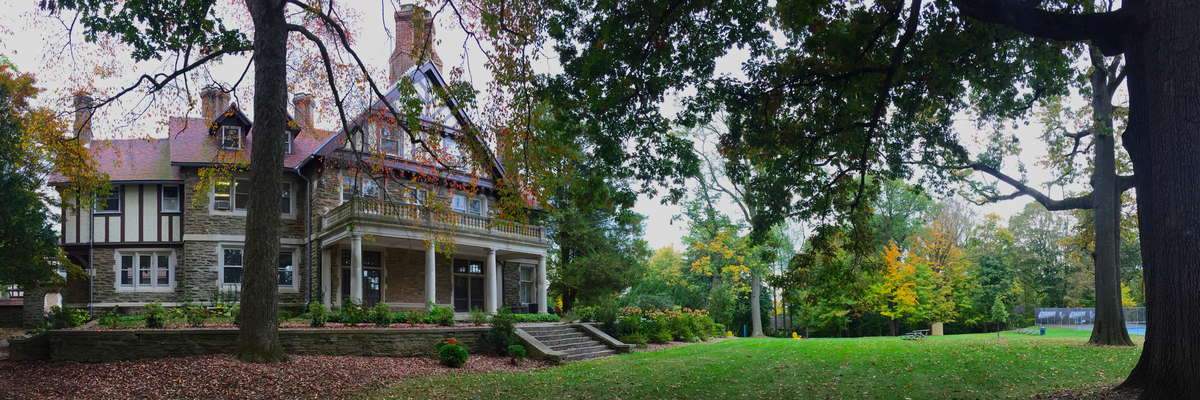 Mansion on campus in the fall
