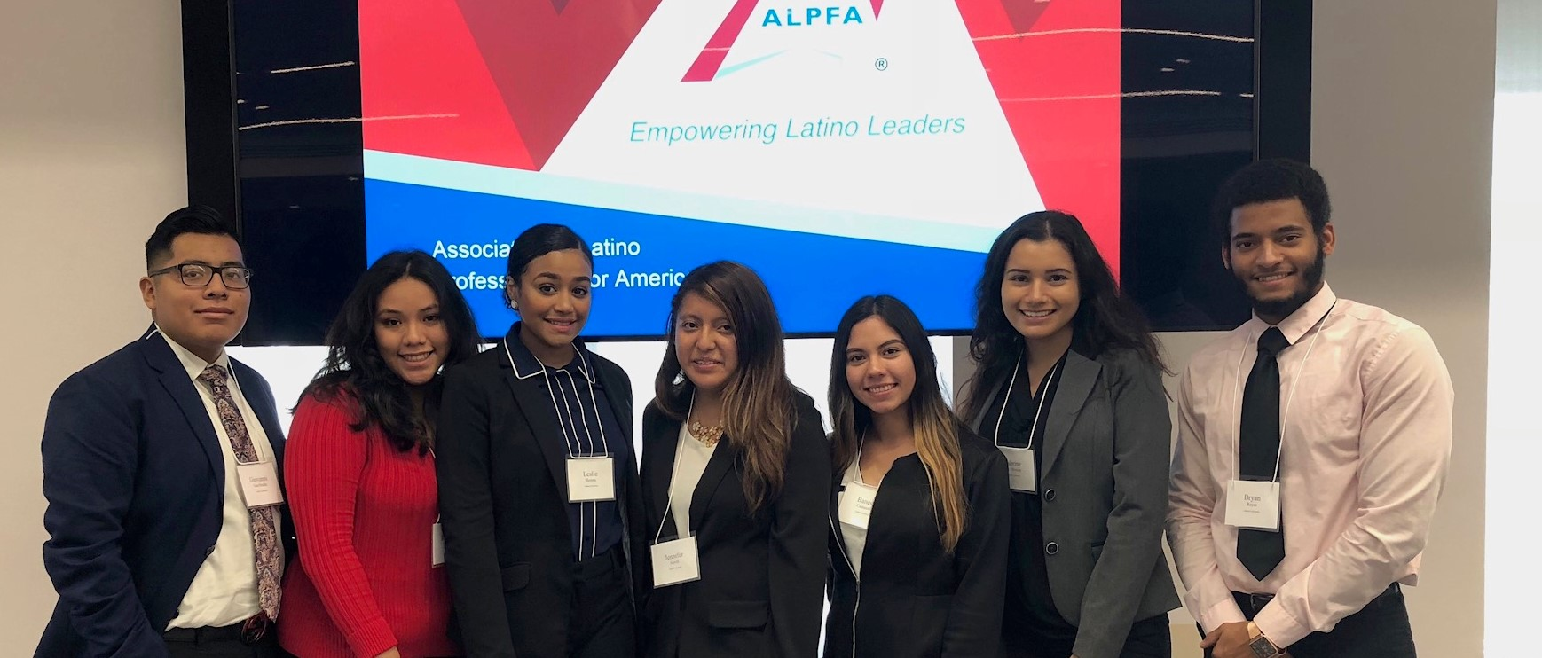 Banesa Castaneda (third from right) and the Cabrini University chapter of the Association of Latino Professionals for America (ALPFA)