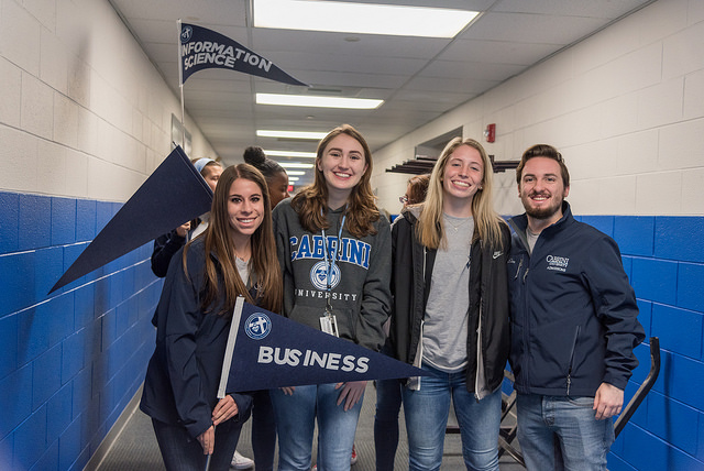 Students with business flag