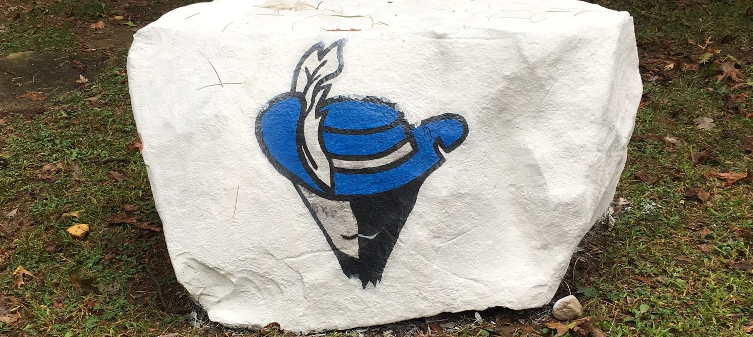 Cavalier painted on rock
