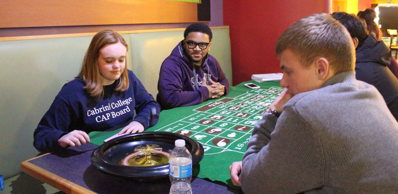 Students at Casino Night on campus