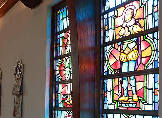 stained glass windows in the Chapel at Cabrini University