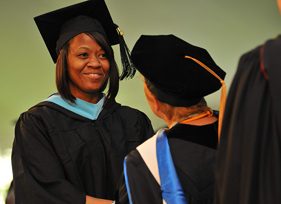 A Cabrini student at Commencement
