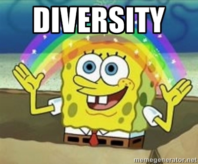 Diversity! (Imagination Spongebob meme - Spongebob making a rainbow)