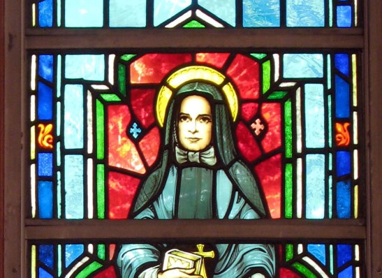 stained glass window of Saint Frances Xavier Cabrini