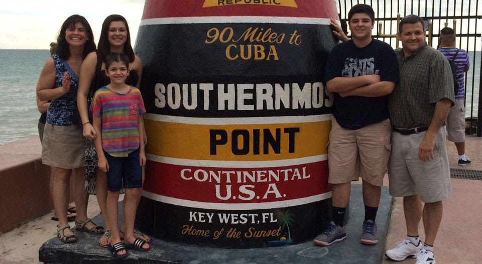 Heckman family at southernmost point of US